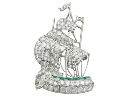 2.65ct Diamond & 0.28ct Emerald, Platinum Ship Brooch - Antique c.1910 (1 of 10)