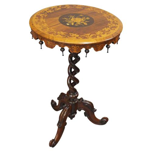 Marquetry Inlaid Walnut Wine Table (1 of 10)