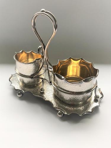 Attractive Arts & Crafts silver plated cream & sugar set (1 of 8)