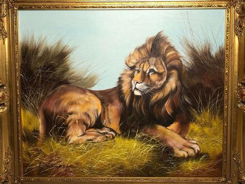 Fine Art Vintage 20th Century Oil Canvas Painting Recumbent Lion Portrait Signed (1 of 12)
