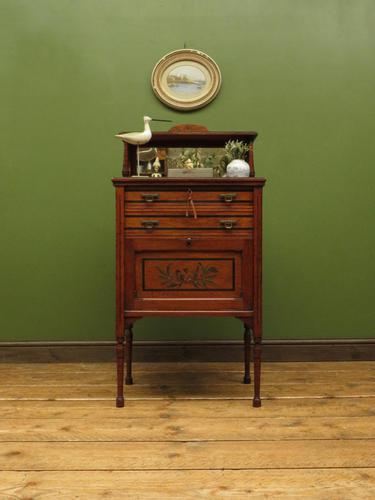 Antique Aesthetic Movement Music Cabinet with fall front & hand painted design (1 of 14)