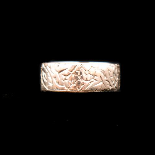 Antique Fancy Engraved Floral Patterned 9ct 9K Gold Stacking Band Ring (1 of 9)