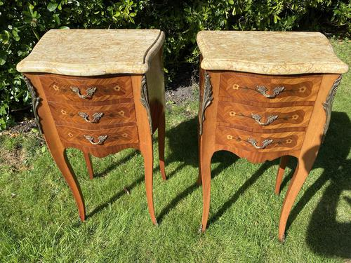 Pair of French Marquetry Bedside Tables (1 of 8)