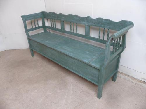 Lovely Green & Blue 3 Seater Antique Pine Kitchen / Hall Box Settle / Bench (1 of 10)