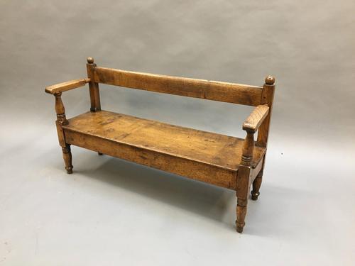 19th Century Childrens Oak Hall Bench (1 of 9)