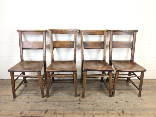 Set of Four Victorian Elm Chapel Chairs (1 of 7)