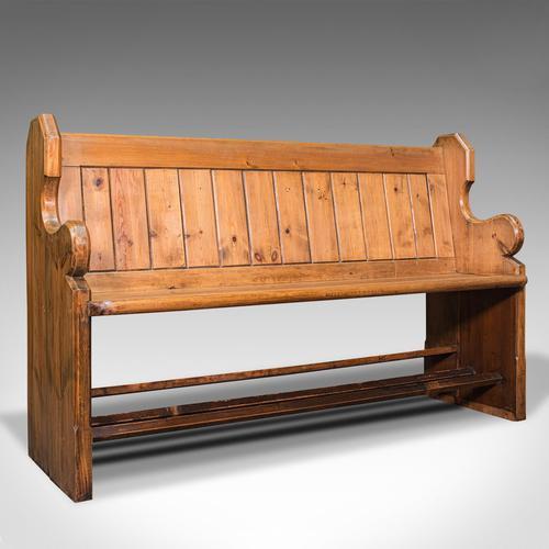 Antique Hallway Bench, English, Pine, Reception, Pew, Ecclesiastic, Victorian (1 of 12)