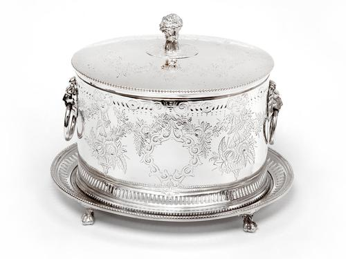 Antique Horace Woodward & Co Silver Plated Biscuit or Trinket Box (1 of 6)