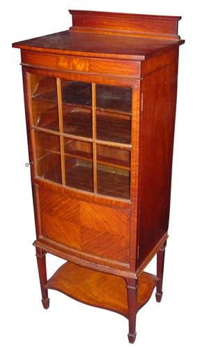 Fine inlaid satinwood bow fronted bookcase / music cabinet c.1905 (1 of 1)