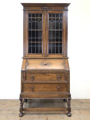 Early 20th Century Antique Oak Bureau Bookcase (1 of 16)