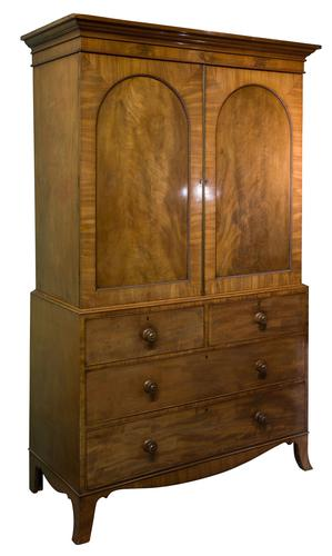 19th Century Mahogany Linen Press with Shelves & Drawers (1 of 6)
