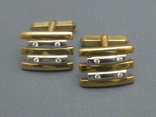 Pair of 2 coloured 9ct gold and diamond set cufflinks (1 of 8)