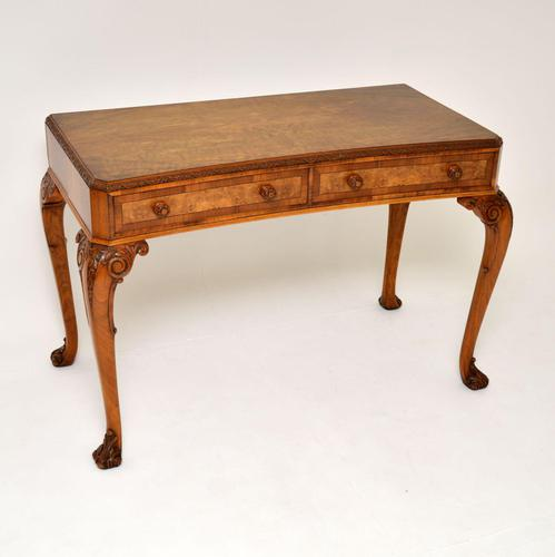 Antique Burr Walnut Queen Anne Style Console Server Table (1 of 10)