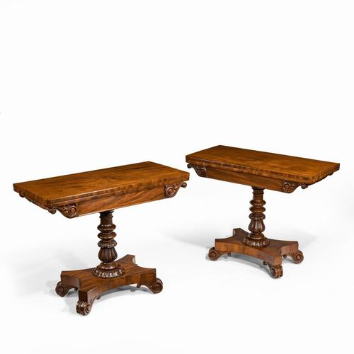 Companion Pair of William IV Flame Mahogany Card Tables (1 of 13)