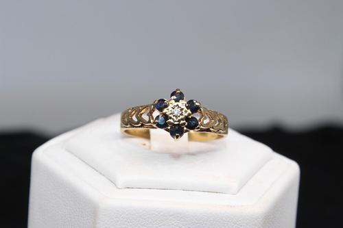 9ct Gold & Diamond Ring, size V, weighing 2.8g (1 of 5)