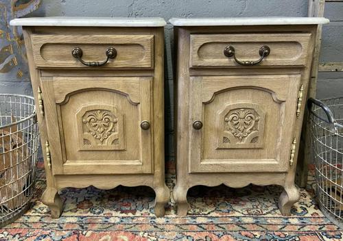 Pair of French Bleached Oak Bedside Cupboards (1 of 13)