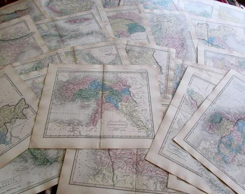 Large Collection of 23  Coloured  World Maps by Sidney Hall  1860 (1 of 4)