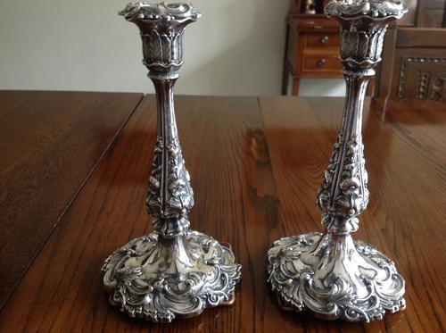 Pair of Ornate Antique Victorian Silver Candlesticks - 1844 / 1845 (1 of 8)