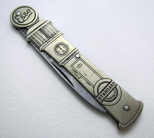 Rare ESSO Solingen Folding Pocket Knife, Advertising Gas Pump Standard Motor Oil Novelty Penknife. Germany c.1920 (1 of 9)
