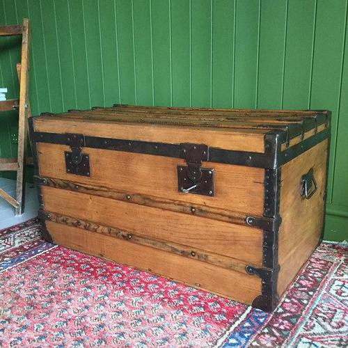 Antique French Steamer Trunk Coffee Table Old Rustic Chest and Key + Original Interior (1 of 12)
