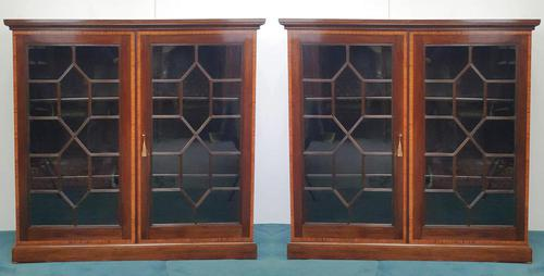 Pair of Edwardian Inlaid Mahogany Floor Bookcases (1 of 4)