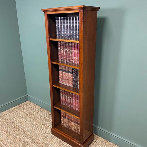 Tall Slim Victorian Mahogany Antique Open Bookcase (1 of 6)