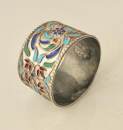 Pretty Imperial Russian Silver & Cloisonné Napkin Ring Moscow c.1890 (1 of 6)
