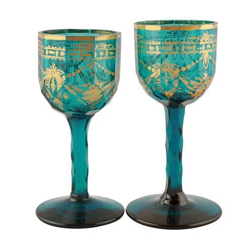 Pair of Georgian Gilded Green Wine Glasses (1 of 8)