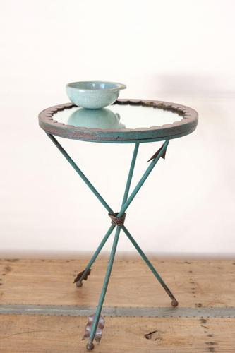 Unique verdigris finished metal and mirror topped side table with rope tied arrow legs (1 of 12)