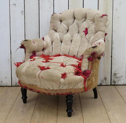 Antique French Button Back Chair For Re-upholstery (1 of 8)
