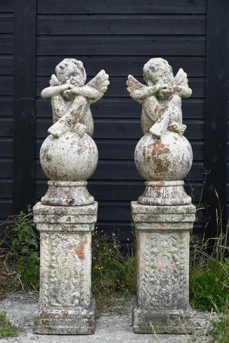 Pair of Terracotta Cherub Garden Sculptures (1 of 12)