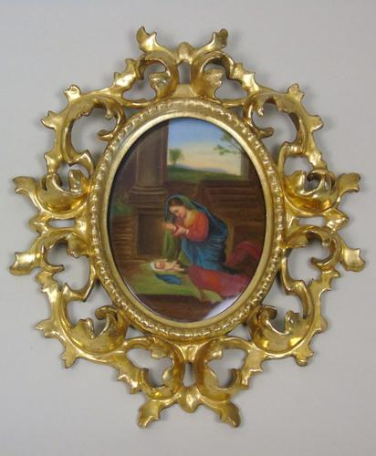 Italian Porcelain Plaque in Giltwood Hand Carved Frame Madonna & Child (1 of 7)