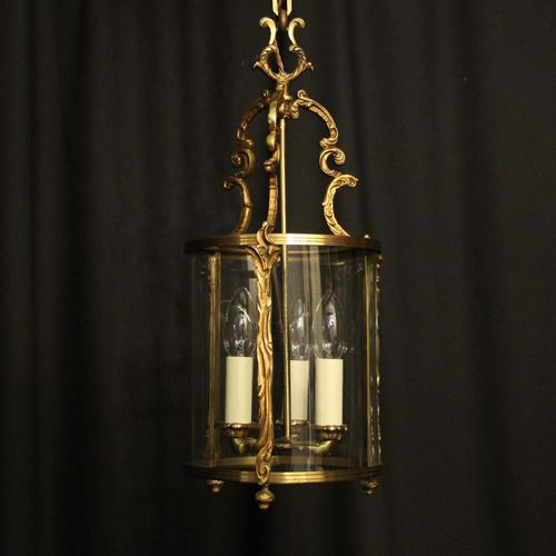 French Gilded Convex Antique Hall Lantern (1 of 7)