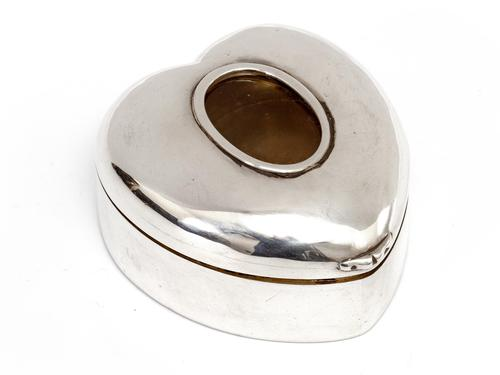 Victorian Silver Heart Shaped Box with an Oval Photograph Window (1 of 4)