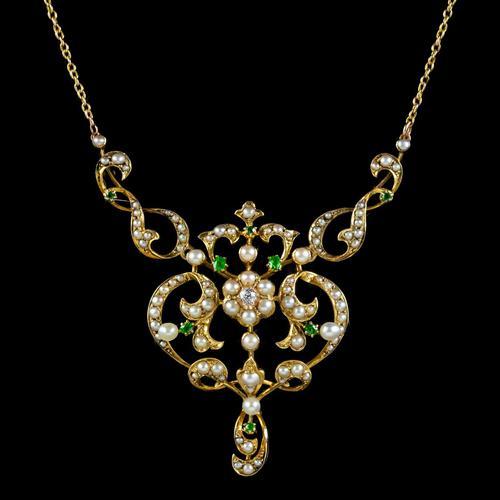 Antique Edwardian Pearl Diamond Green Garnet Lavaliere Necklace 15ct Gold c.1905 (1 of 8)
