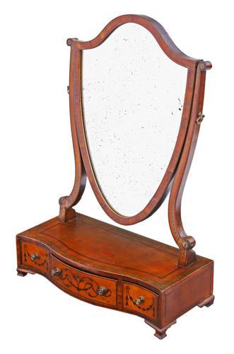 Georgian C1820 satinwood dressing table swing mirror (1 of 7)