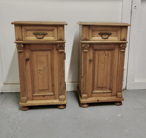 Pair of  Chunky Carved Pine Bedside Cupboards (1 of 6)