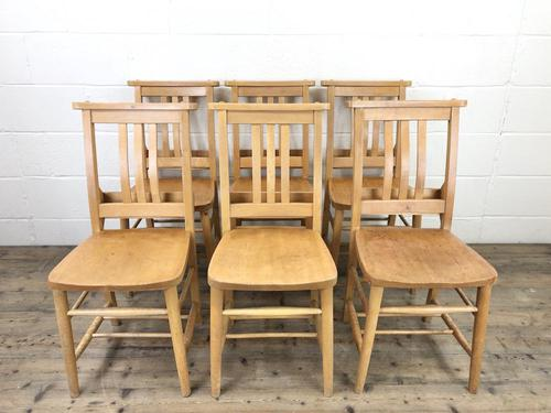 Set of Six Vintage Beech Chapel Chairs (1 of 19)