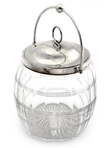 Victorian Silver Mounted Cut Glass Barrel with a Swing Handle and Pull Off Lid (1 of 6)
