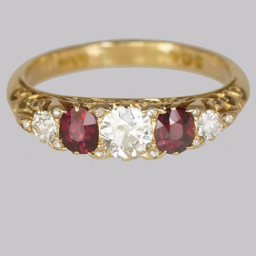 Victorian Diamond & Ruby Ring 18ct Gold Five Stone Antique Ring Hallmarked 1897 (1 of 11)
