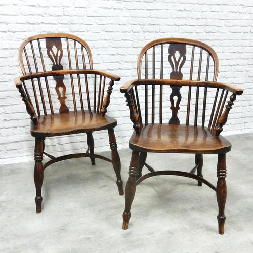 Pair of Named Windsor Lowback Armchairs, F Walker of Rockley (1 of 8)