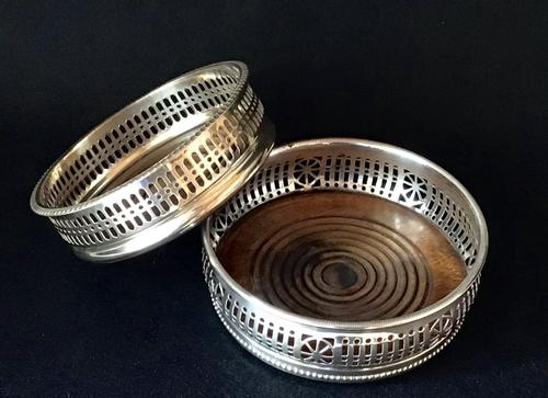 2  Silver Plated  Reticulated  Bottle Coasters (1 of 3)