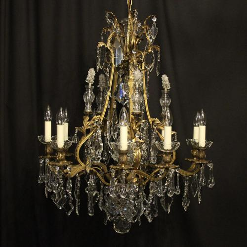French Gilded Bronze 11 Light Antique Chandelier (1 of 10)