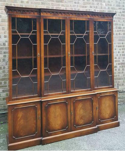 Georgian Design Reprodux Bevan Funnell Mahogany Breakfront Library Bookcase (1 of 1)
