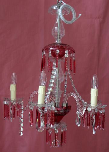 Cranberry Flash Crystal Chandelier (1 of 6)