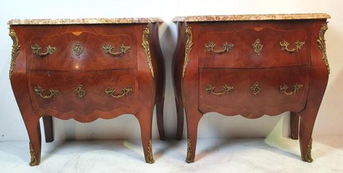 19th Century Pair of Inlaid Kingwood Marble Top Chests (1 of 7)