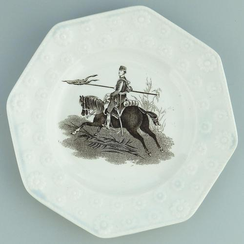 Military Interest - Staffordshire Pottery Daisy Military Nursery Plate 19th Century (1 of 3)