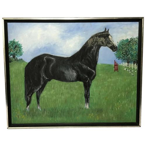 Impressionist Oil Painting Prized Thoroughbred Equestrian Black Horse Portrait (1 of 13)