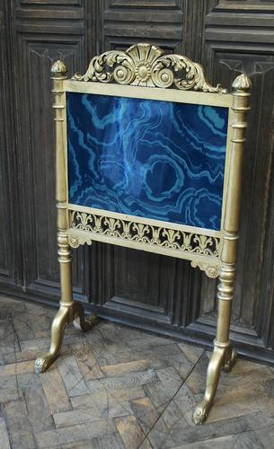 Giltwood firescreen with painted malachite panel (1 of 4)