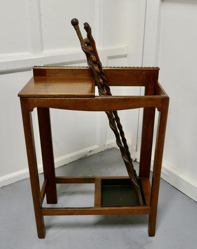 A Golden Oak Hall Table Stick Stand, (1 of 7)
